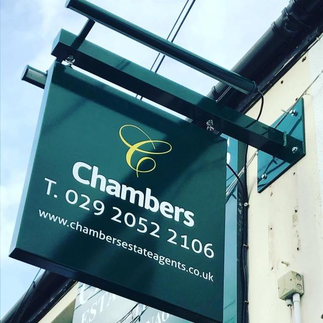 Aluminium powder coated tray sign with projected halo illuminated letters. Swing sign with trough LED lighting for @ChambersEA