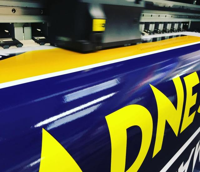 Wide format digital print in production for Trade Centre Wales