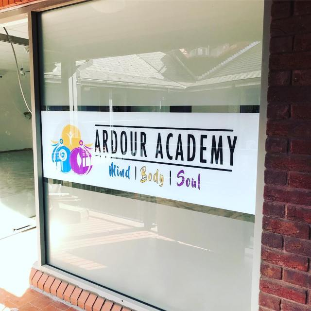 Window frosting and printed graphics installed for @ardour.academy yesterday. Looks great