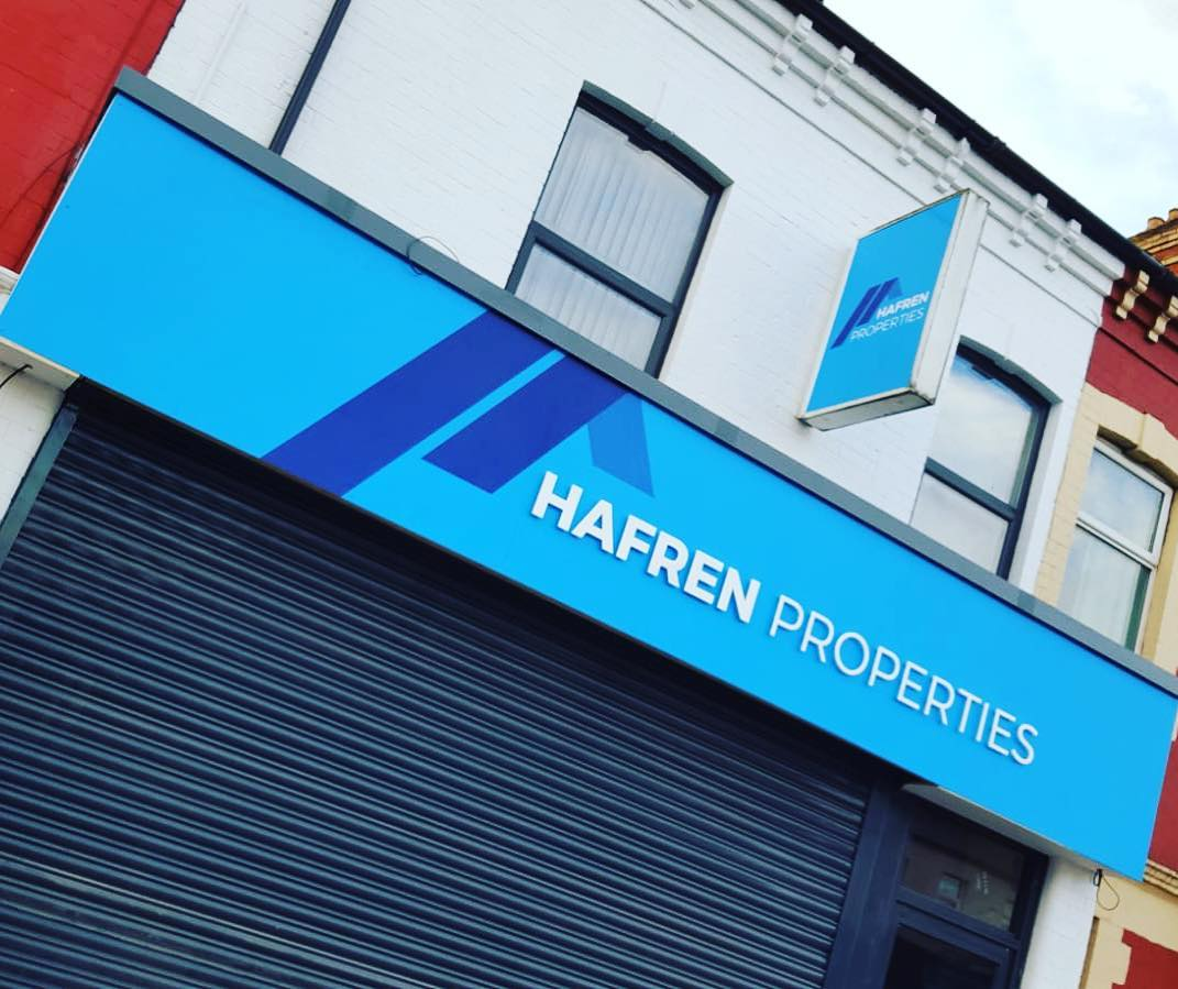 Shop front looking great for Hafren Properties. Job included print and stand off lettering