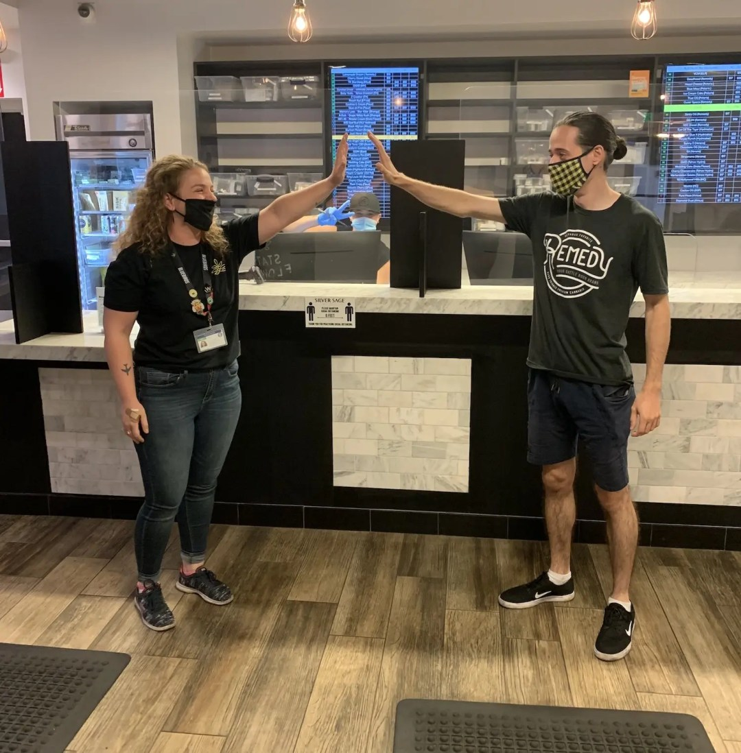 cannabis dispensary employees physical distancing