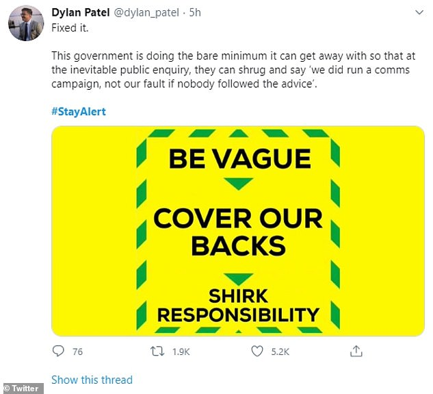 Parody of stay alert advice - be vague - cover our backs - shirk responsibility