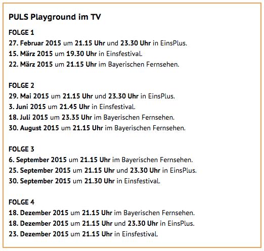 Sendetermine PULS Playground 2015