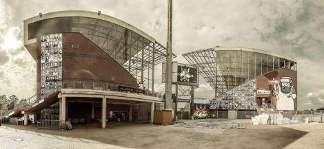 Millerntor Stadion: Wo sonst Fußballfeste gefeiert werden, gehen auch Kunst- und Kulturfeste durch die Decke (Foto: Millerntor Gallery)