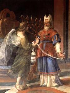 1-L'Archange Gabriel apparait A Zacharie Luca Giordano, Musée Capodimonte, Naples