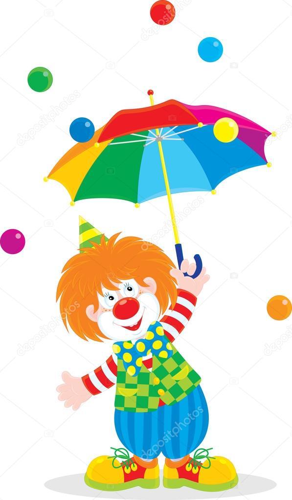 funny clown holding an open multicolor umbrella stock