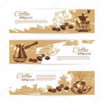 Banner Set Of Vintage Coffee Backgrounds Menu For Restaurant C Stock Vector C Pimonova 24707283