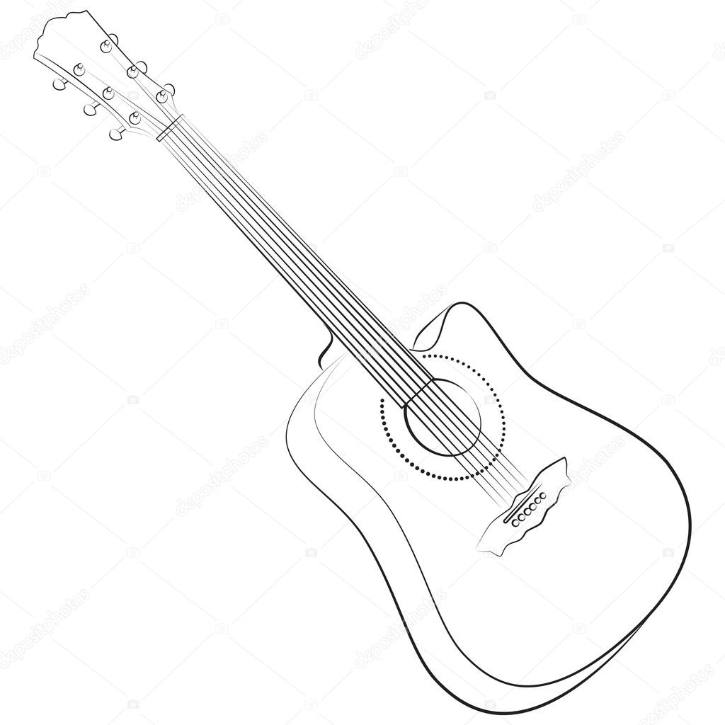 Acoustic Guitar Vector Illustration Colorless