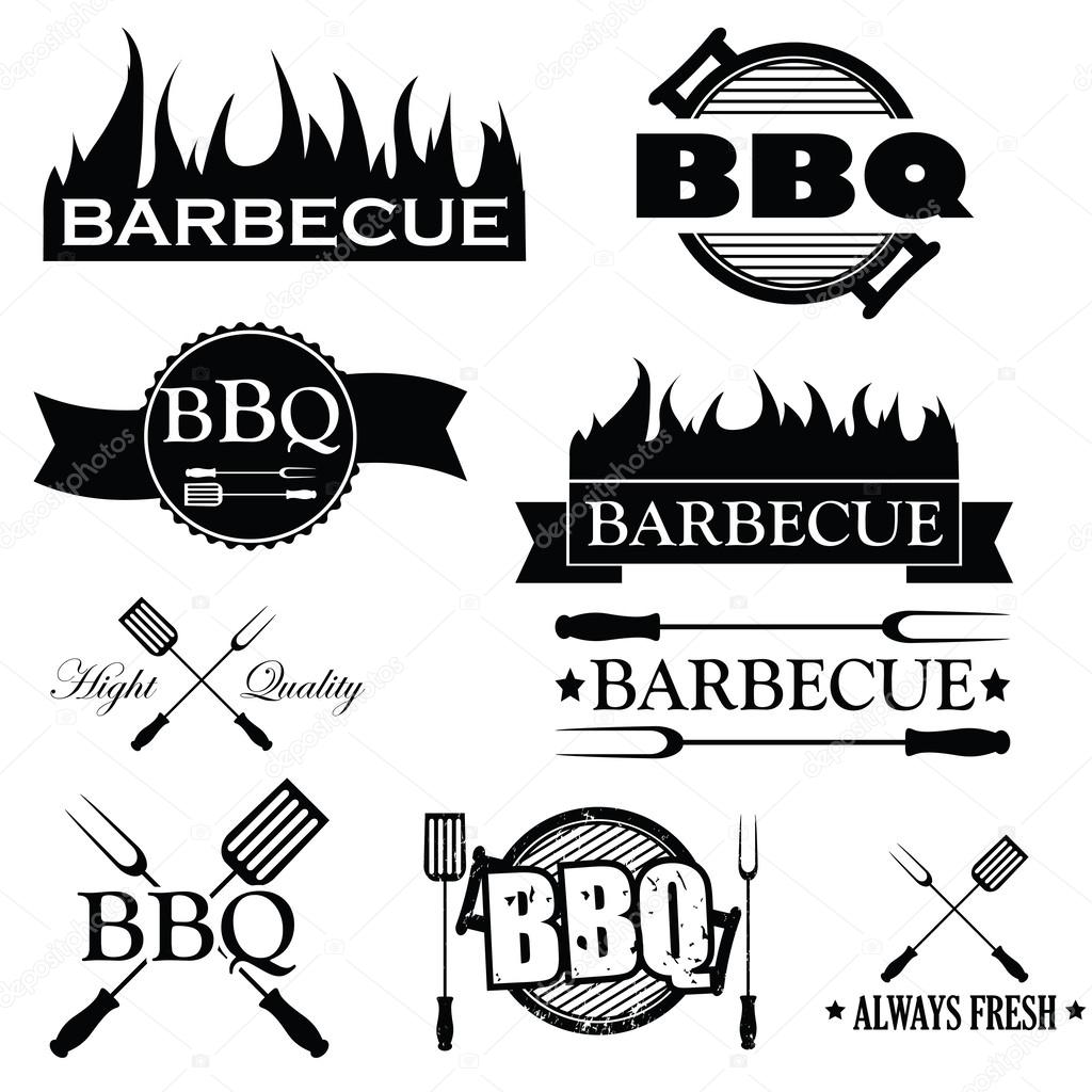 Set Of Bbq Icons Isolated On White Background Vector