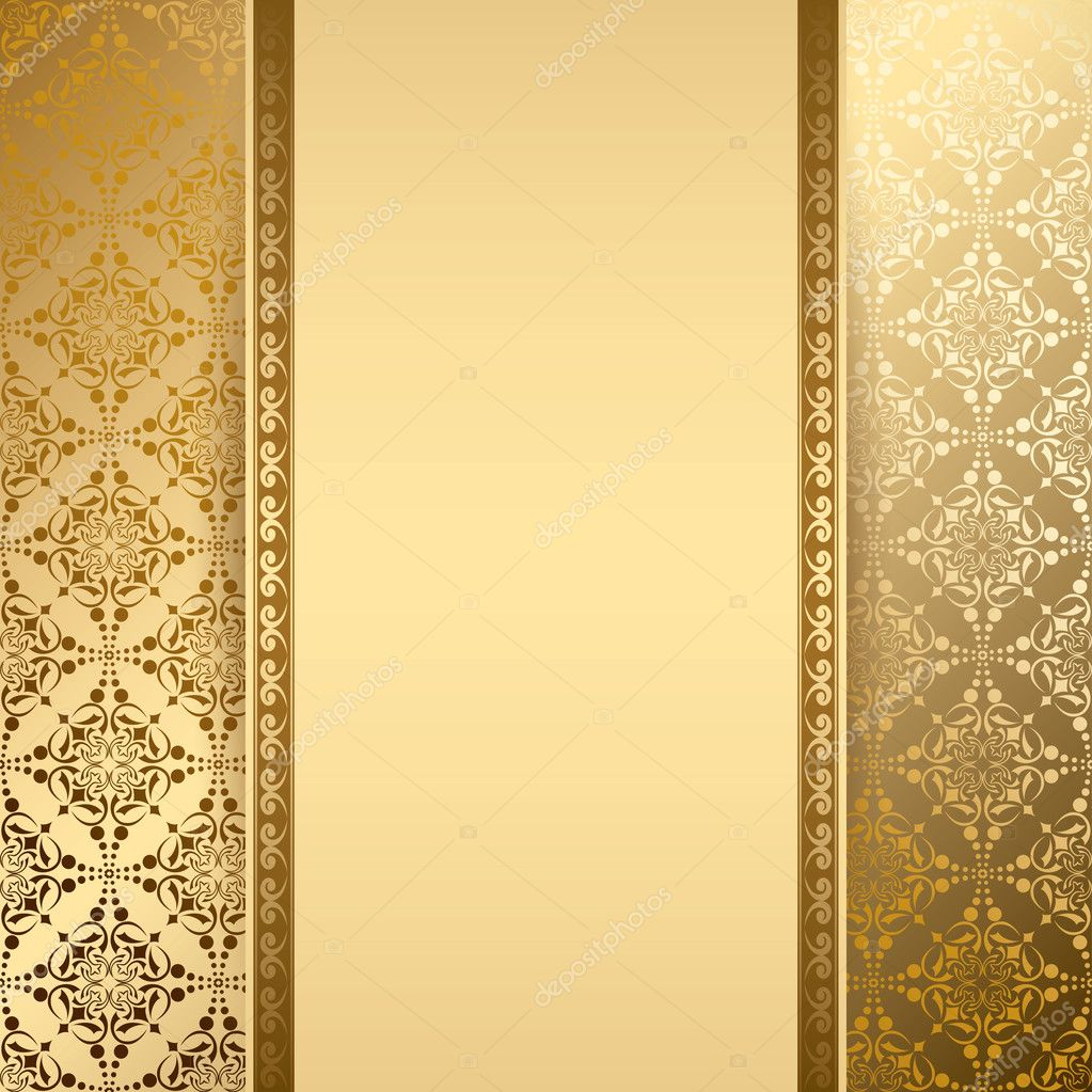 Gold Background With Vintage Pattern Vector Stock