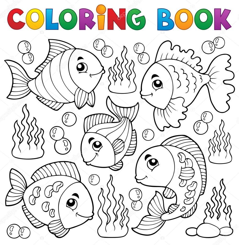 libro para colorear varios tema peces 1 vector de stock clairev