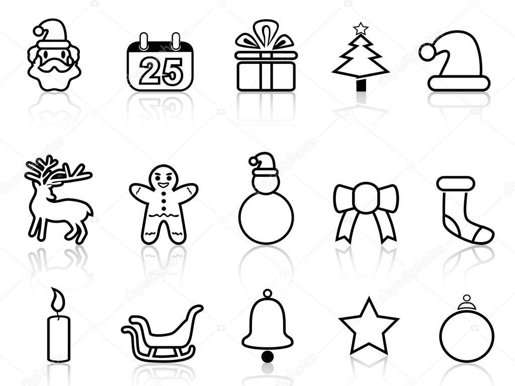 Icones De Ligne Noel Noir