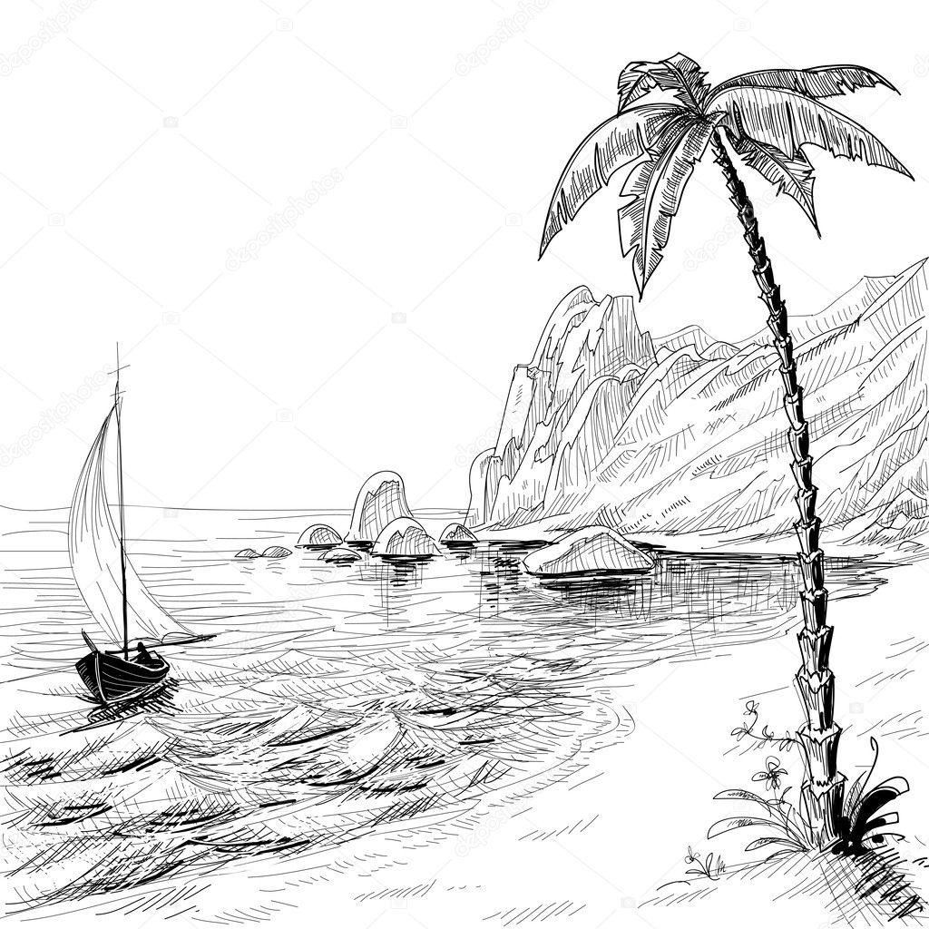 Sea Beach Boat And Palm Tree Vector Sketch