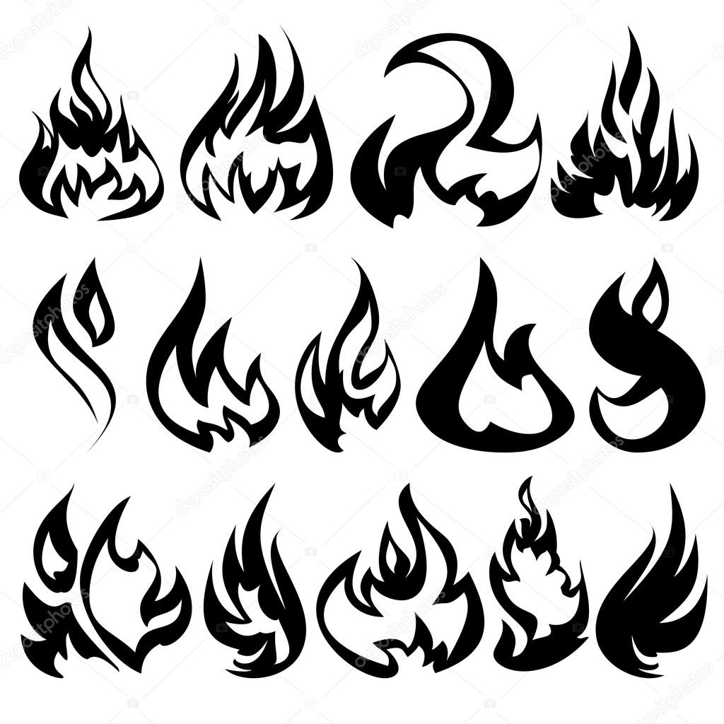 Fire Flames Set Icons