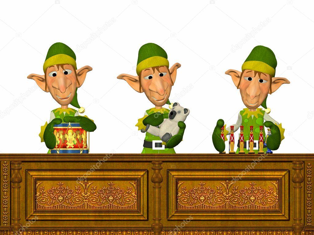 three christmas elves making toys stock photo chastity 9383710