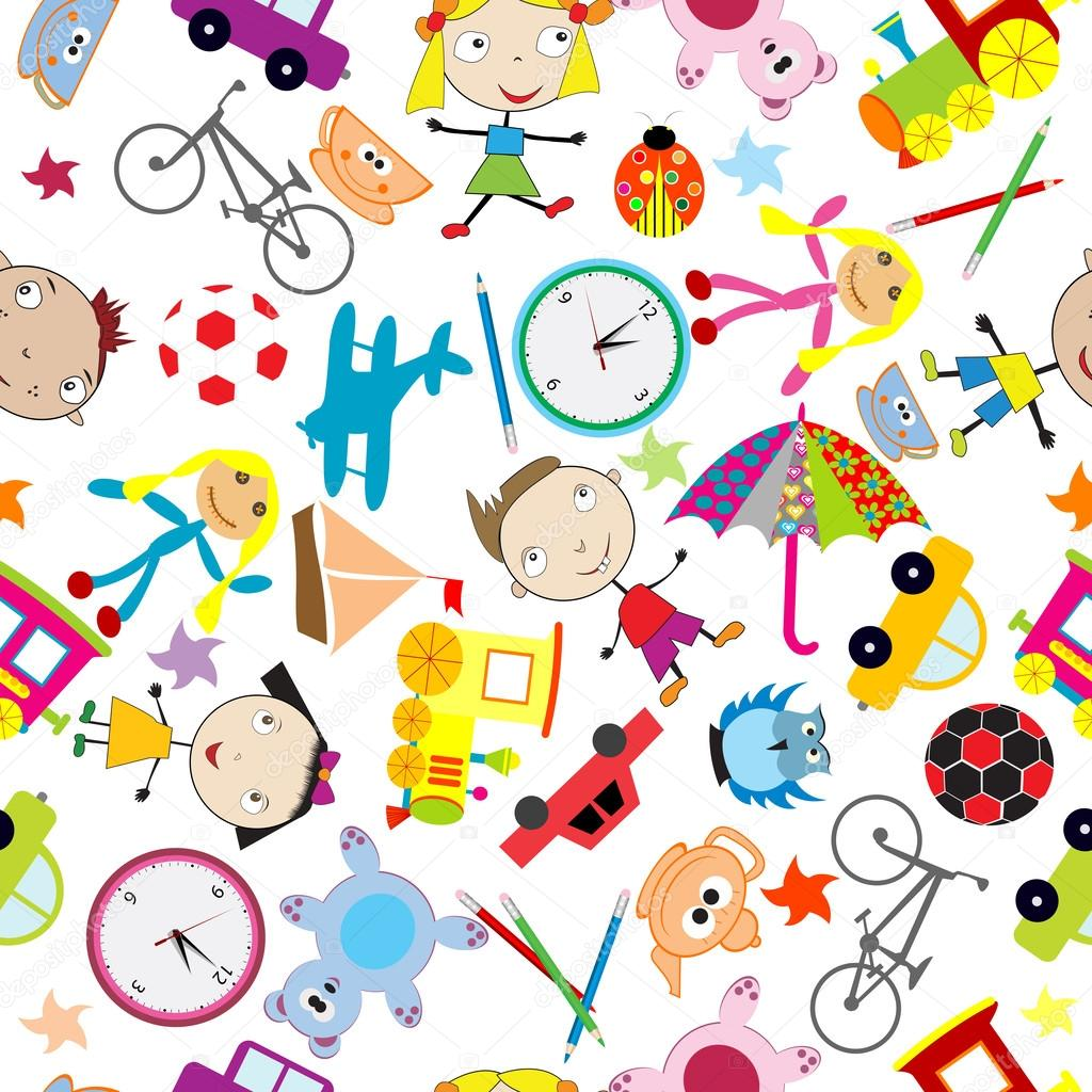 Seamless Pattern With Toys Background For Kids