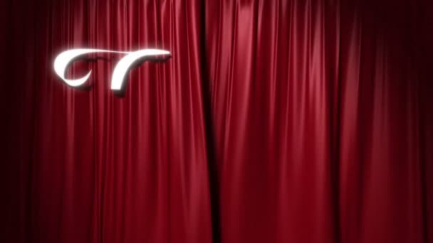 closing red curtain with a title the end 3d animation