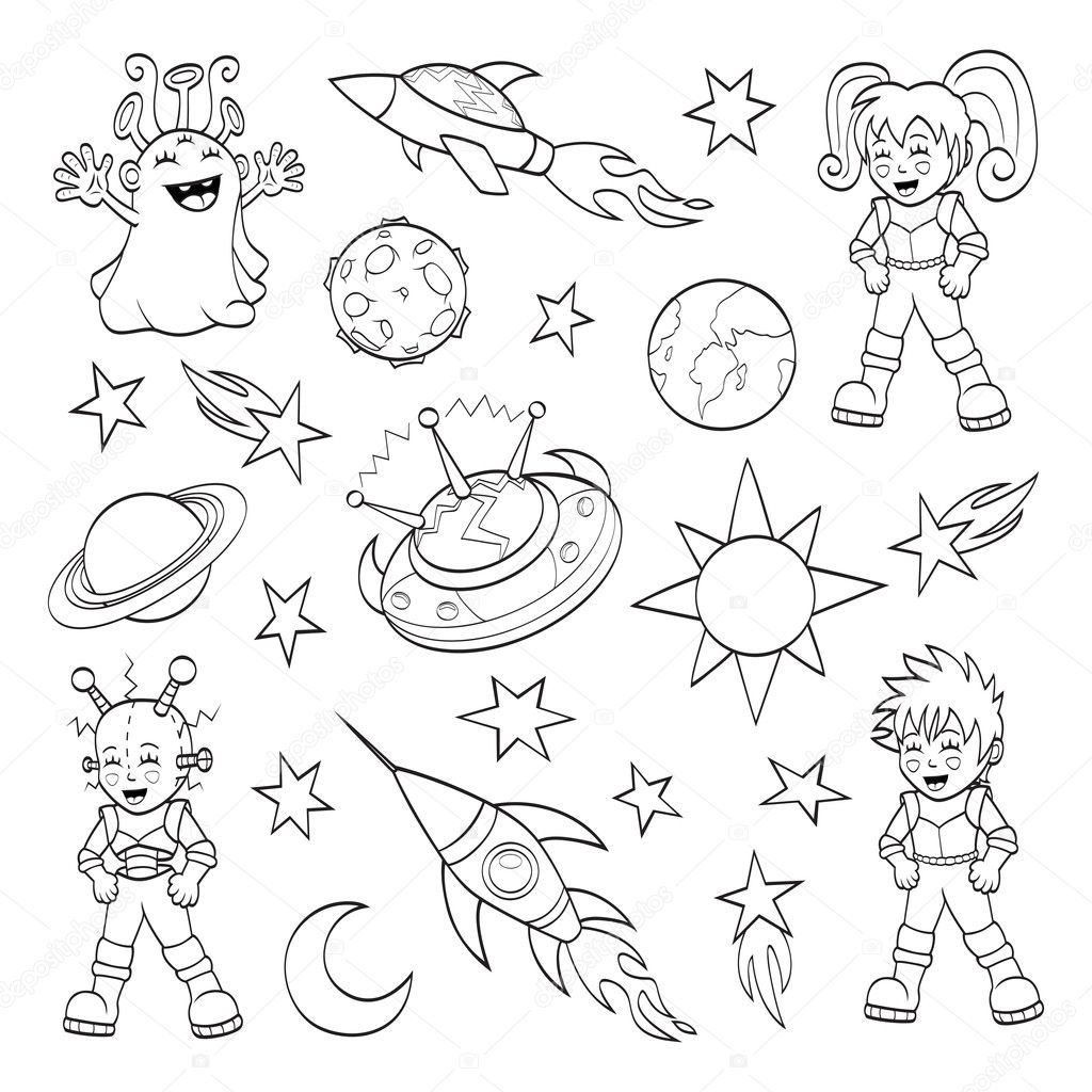 Cartoon Outer Space Set Coloring Book