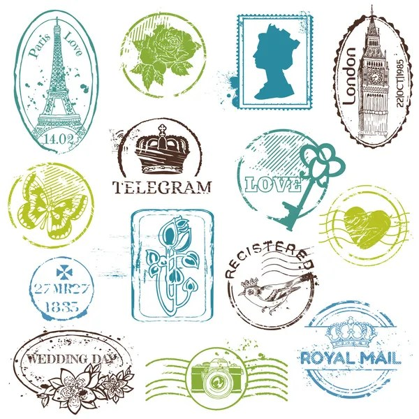 Set Of Wedding Postage Stamps Stock Vector Woodhouse