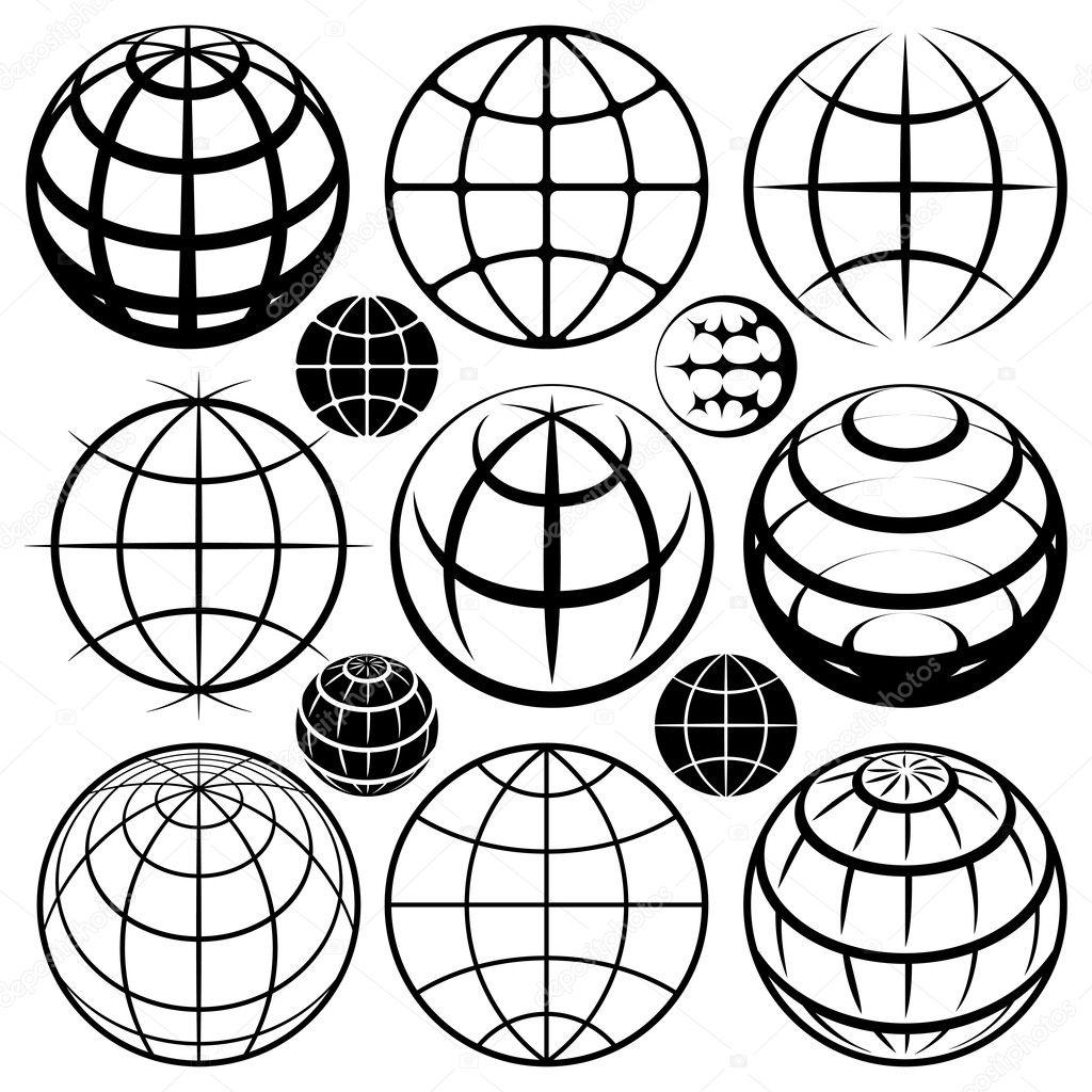 Globus Zeichen Vektor Globus Anmelden Satz