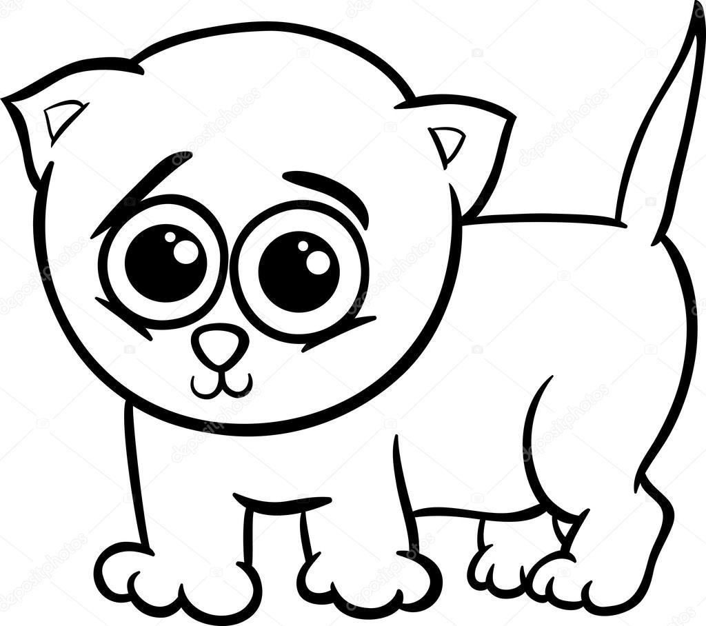 baby kitten cartoon coloring page stock vector izakowski