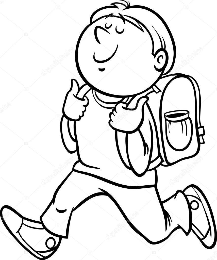 rapaz da classe aluno coloração página vetor de stock