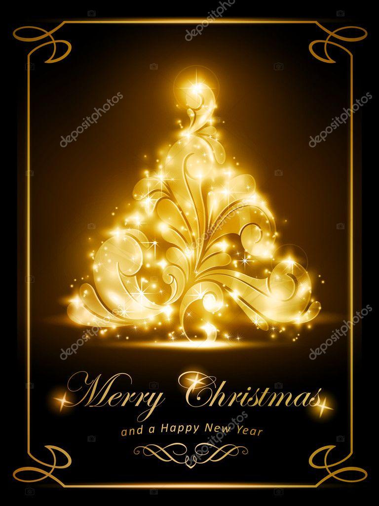 Elegant Christmas Card Party Invitation Stock Vector