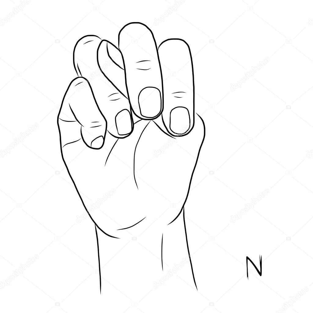 Sign Language And The Alphabet The Letter N
