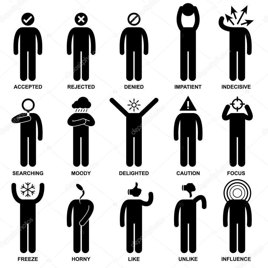 Man Emotion Feeling Expression Attitude Stick Figure
