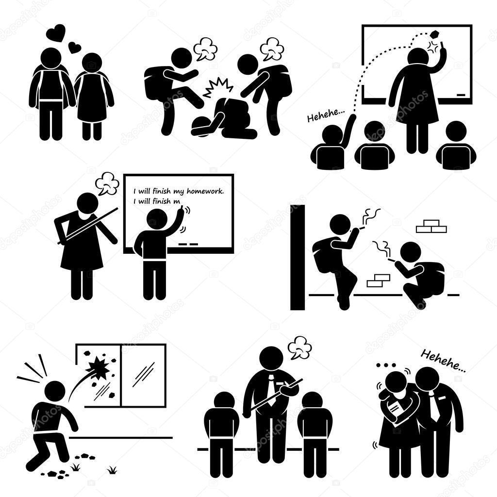 Schule Bildung Soziale Problem Schuler Lehrer Stick Figur
