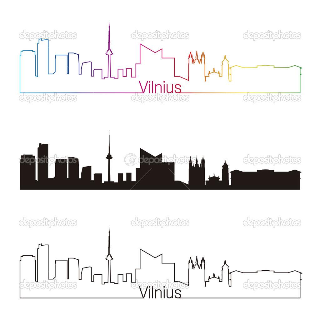 Style Lineaire De Vilnius Skyline Avec Arc En Ciel