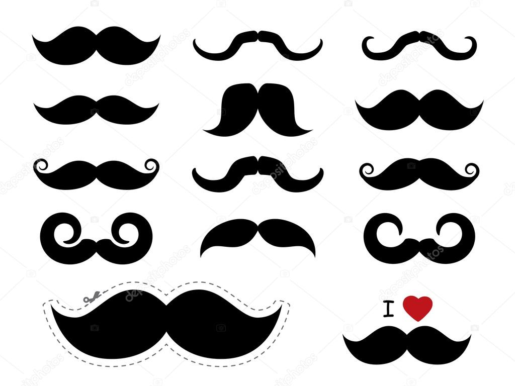Mustache Icons Movember Stock Vector Graphit 34759541