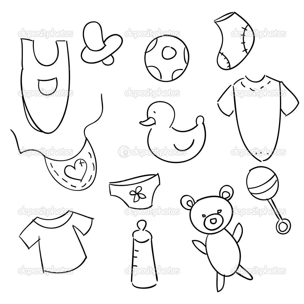 Handgezeichnete Baby Symbole