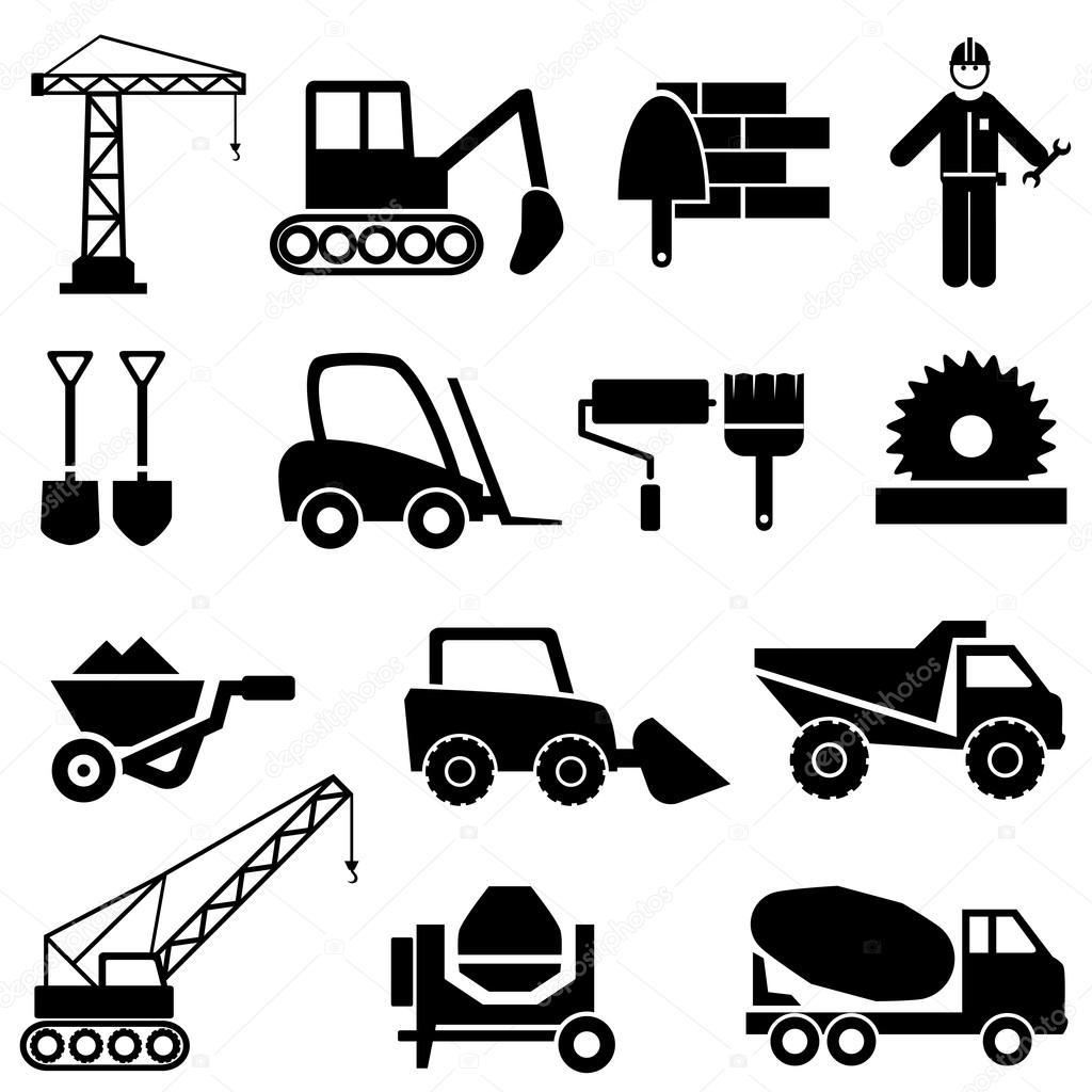Iconos De Maquinaria Industrial Y Construccion