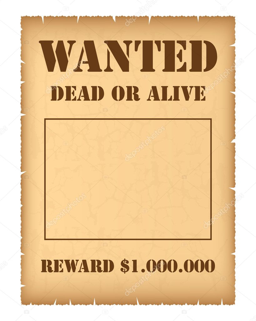 Wanted Reward Poster Template eps vectors of vector western – Printable Wanted Poster Template