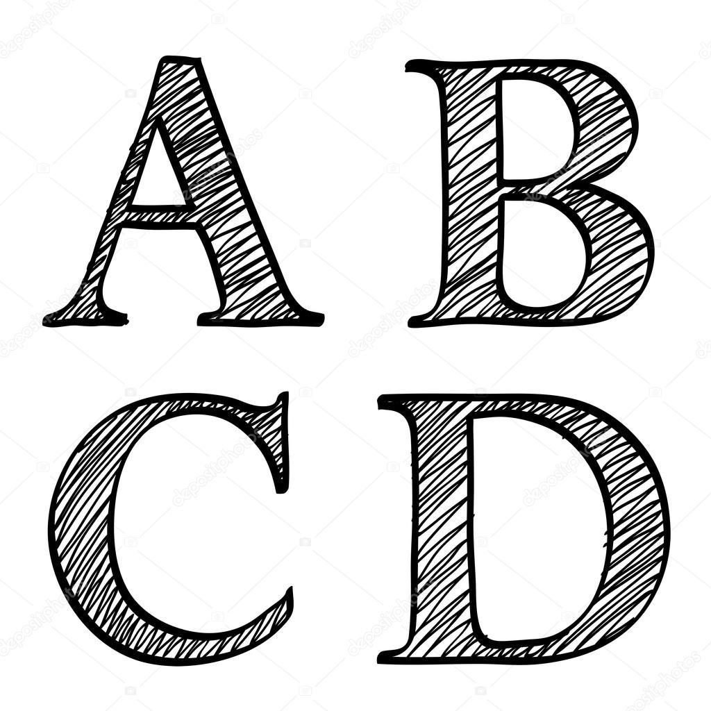 Doodle Scribble Sketch Alphabet Letters Abcd
