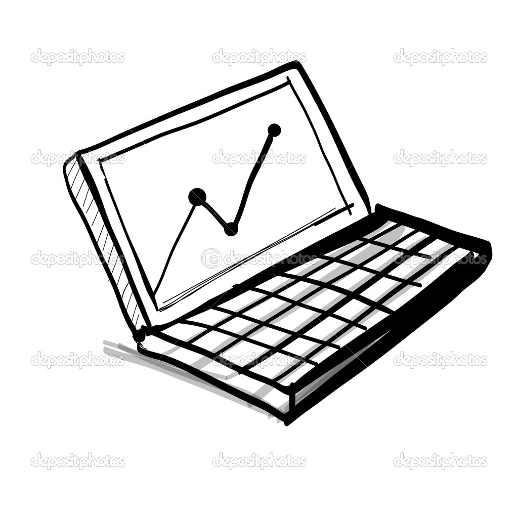 Laptop Com Diagrama E Grafico
