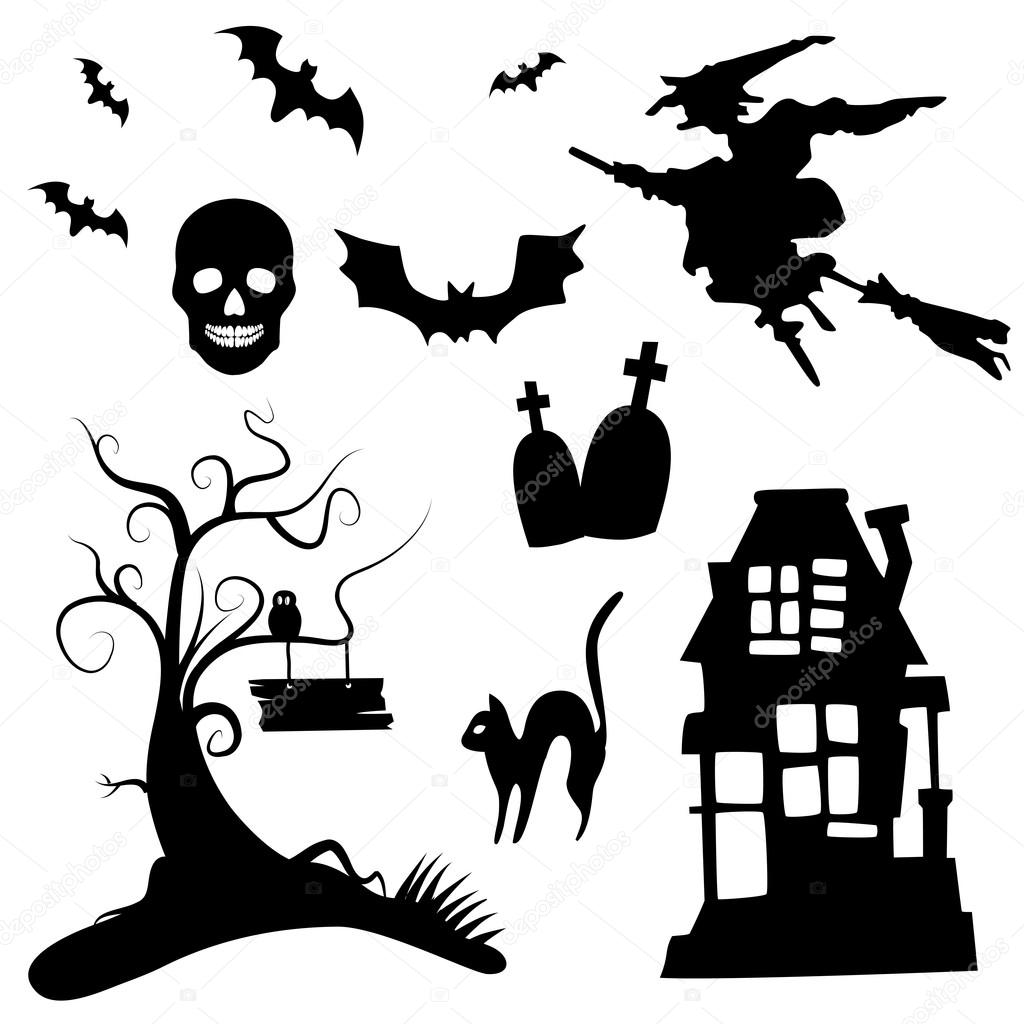 Set Of Halloween Silhouettes On The White Background