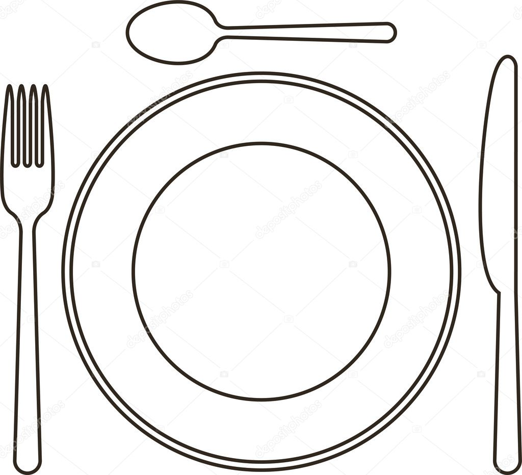 Place Setting With Plate Knife Spoon And Fork
