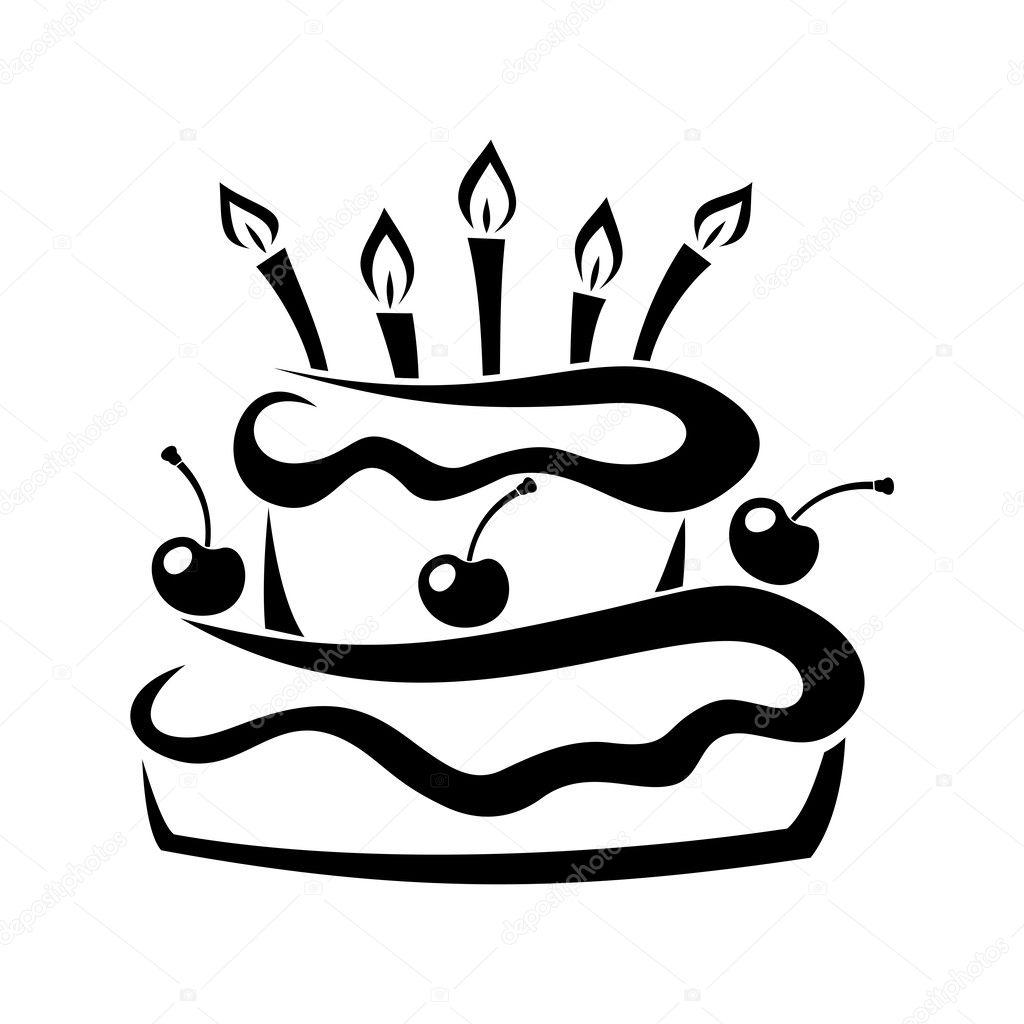 Black Silhouette Of Birthday Cake Vector Illustration