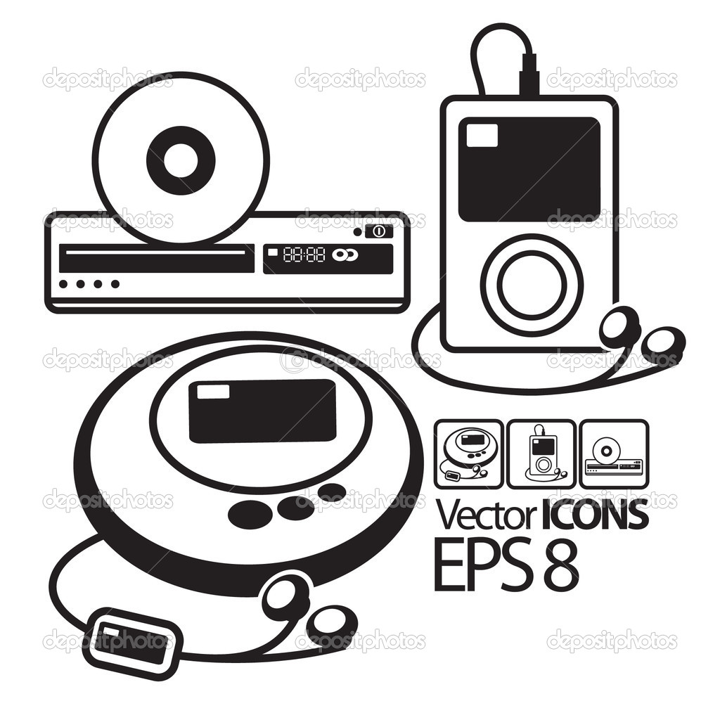 Vector Icons Mp3 Player Cd Player And Dvd Player