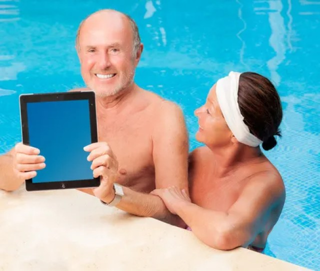 Poolside Matures Stock Photo