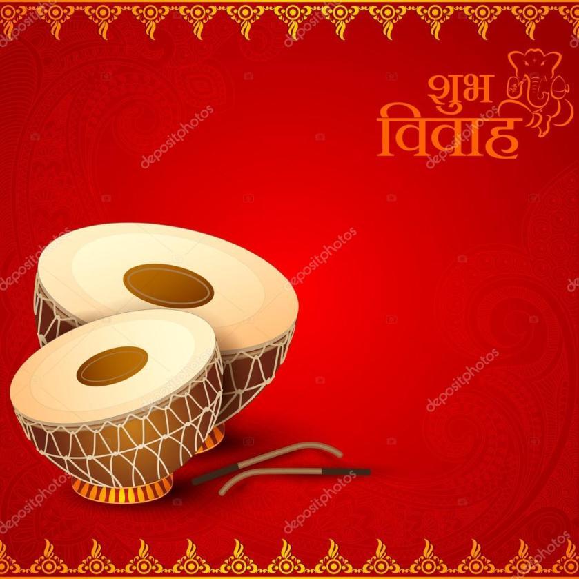 Drum In Indian Wedding Invitation Card Stock Vector 36721889