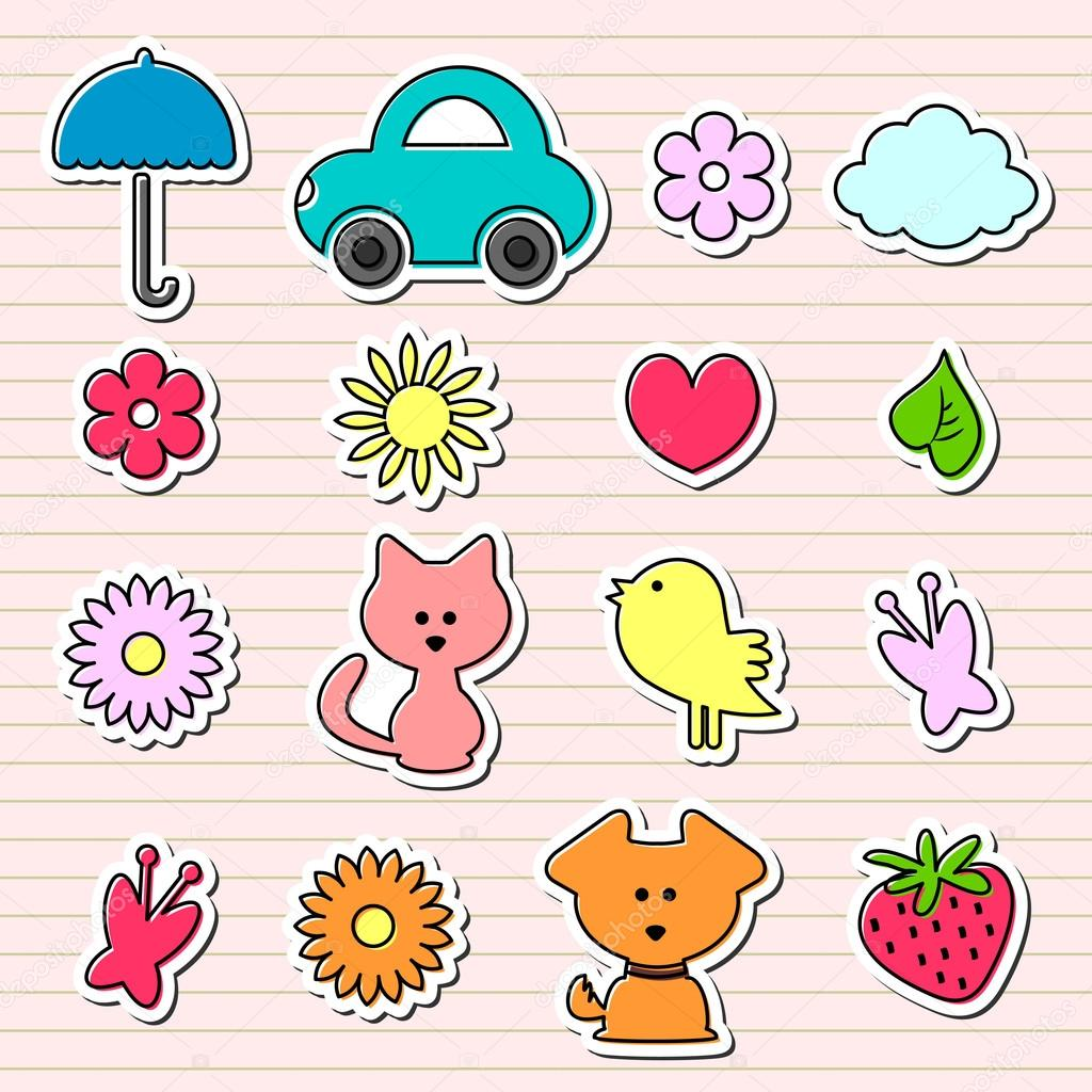 Cute Childish Stickers Set Stock Vector Littlepaw