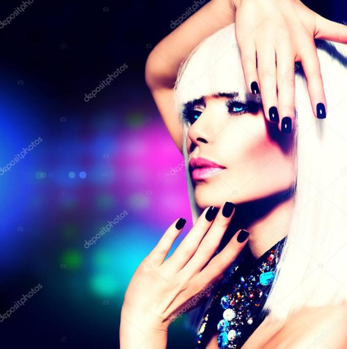 fashion disco party girl portrait. purple makeup and white