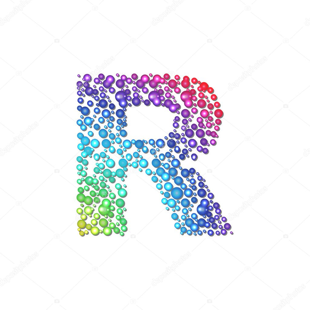 Circle Rainbow Letter R