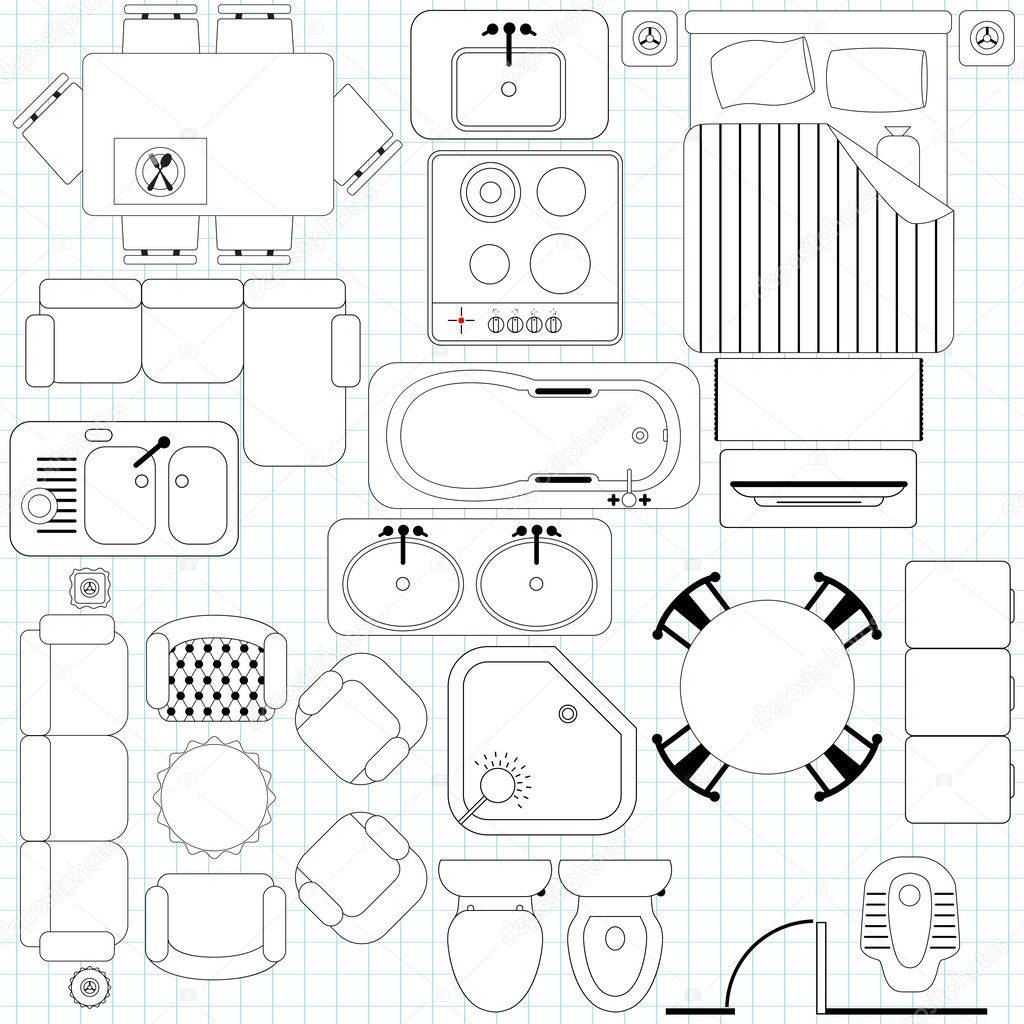 Icons Simple Furniture Floor Plan