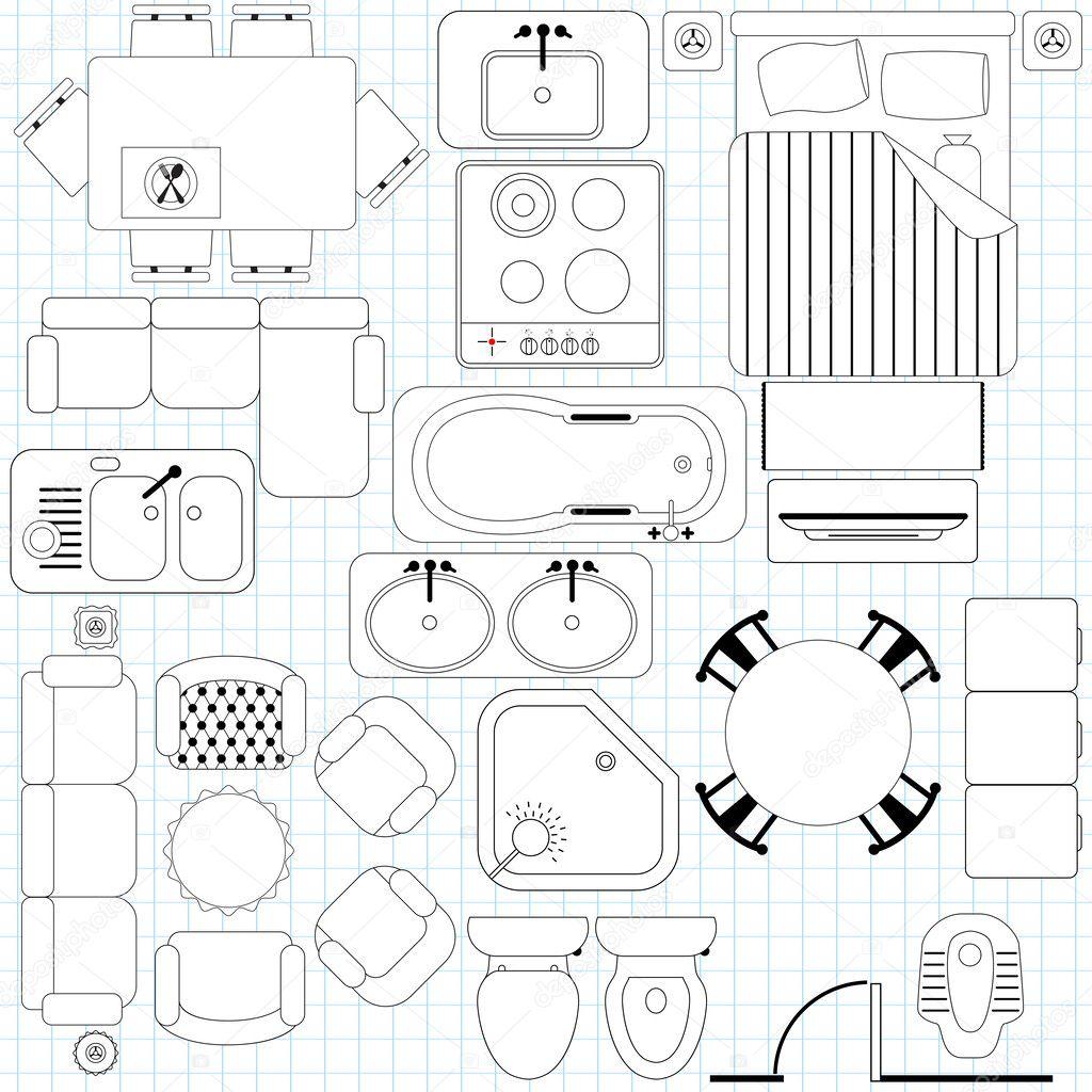 Icons Simple Furniture Floor Plan