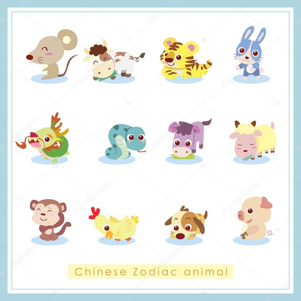 12 Cartoon Chinese Zodiac Animal Stickers