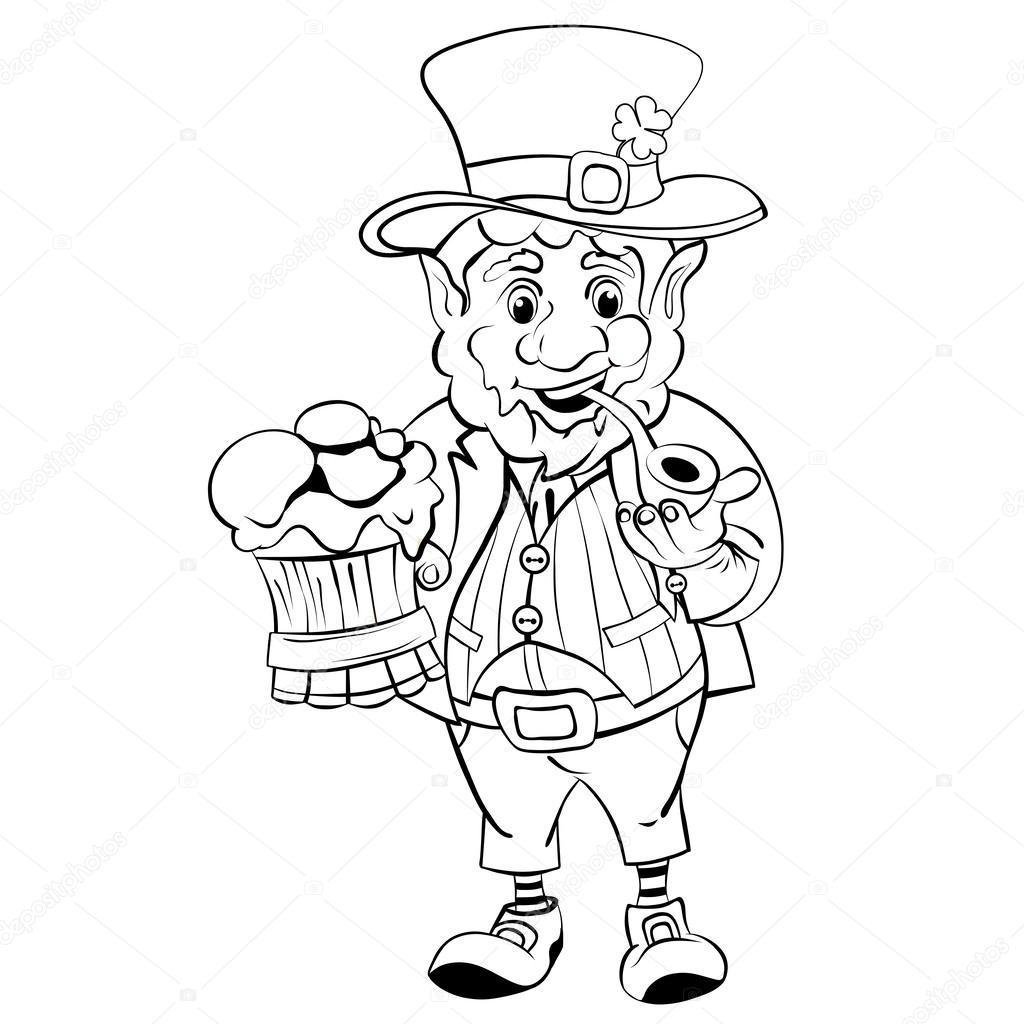 Cartoon Kobold St Patrick S Day Zeichenstil Schwarz